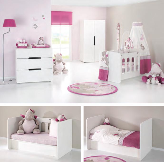 Chambre aspen blanche avec lit volutif 60x120 plexiglas for Chambre bebe noukies